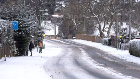 Lowestoft Road, Worlingham covered in snow.Picture: Nick Butcher