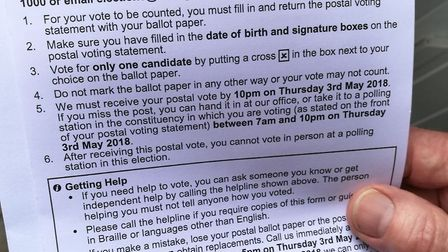 The incorrect election guidance issued by Haringey Council, which was sent out with postal votes