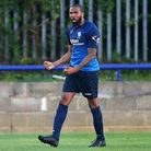 Wingate & Finchley's Marc Charles-Smith celebrates after scoring (pic: Gavin Ellis/TGS Photo).