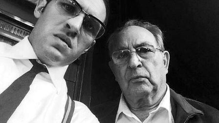 Fred Forman, right, with actor Tom Hardy who played both the Kray twins in the 2015 crime thriller L