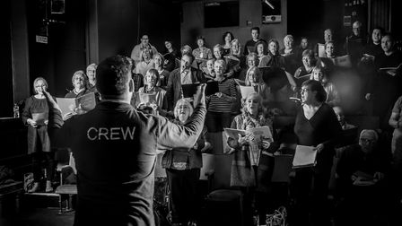 The Rogues Shanty Chorus from Lowestoft rehearse at the Seagull Theatre, Pakefield. Picture: Simon F