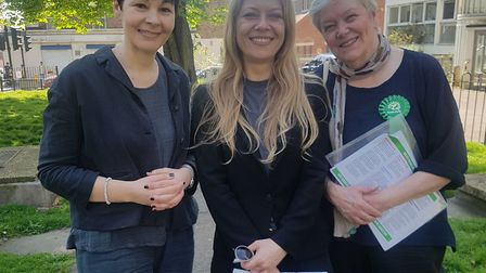 Green Party leader Caroline Lucas, with Highgate councillor Sian Berry and candidate Kirsten de Keys