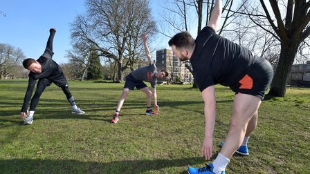 Personal trainer Matty Smith shows Patrick Dunne (sales manager) and Ramzy Alwakeel (Editor) some st