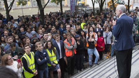 Jeremy Corbyn speaking at a Momentum event at SOAS in 2016. Picture: Rick Findler/PA Archive