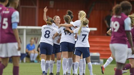 Tottenham Hotspur Ladies captain Jenna Schillaci celebrates after scoring at Aston Villa Ladies (pic