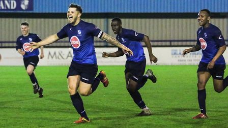 Ben Pattie celebrates after scoring the winning goal for Wingate & Finchley's under-23s against thei