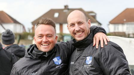 Dean Barker (left) is all smiles at Wingate & Finchley (pic: Martin Addison).