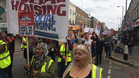 Hundreds of people opposed to Haringey Development Vehicle marched through the streets in protest. P