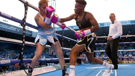 Nicola Adams (right) in action against Soledad Del Valle Frias (pic: Dave Thompson/PA)