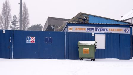 Lowestoft Town FC's home match was cancelled at the weekend due to a snow covered pitch. Picture: Ni