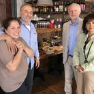 Acoustic owners Sefika Erdal and Adil Kolcak with Jeremy Corbyn and Laura Alvarez at the new shop in