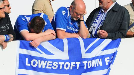 The lows - disappointed fans after Lowestoft lost out in a play-off final. Picture: James Bass