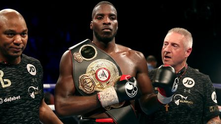 Lawrence Okolie celebrates defeating Isaac Chamberlain (pic: Adam Davy/PA)