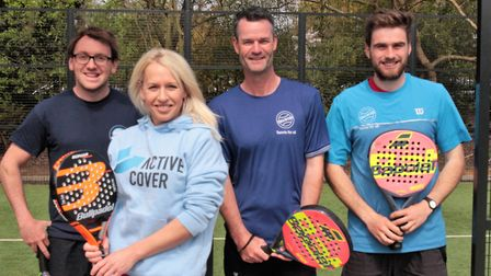 Gail Emms with coaching staff at Regents Park Tennis Centre