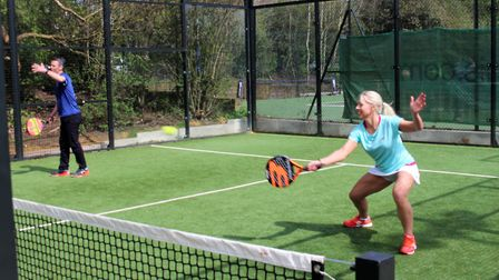Olympic badminton medalist Gail Emms tries her hand at padel tennis at Regents Park Tennis Centre
