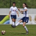 Katie O'Leary passes the ball forward for Tottenham Hotspur Ladies against Sheffield FC Ladies