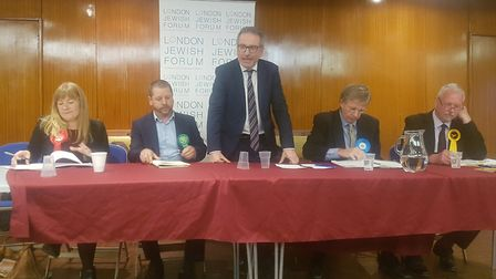 The husting panel at Muswell Hill synagogue. (left to right). Emma Whysall (Labour), Sam Hall (Green