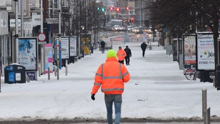 Snowy early morning conditions in Lowestoft town centre on Thursday, March 1. Picture: ANDREW PAPWORTH