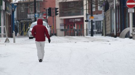 The snow in Lowestoft on Thursday, March 1. Picture: ANDREW PAPWORTH