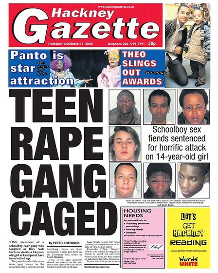 The front page of the Gazette on December 11, 2008 after the gang were jailed.