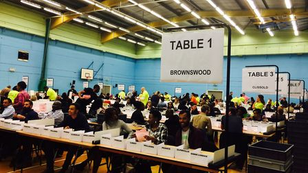 The votes are being counted at the Britannia Leisure Centre. Picture: Emma Bartholomew