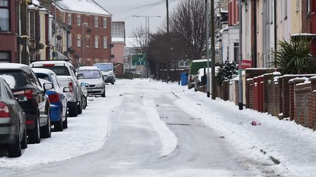 Snow in Lowestoft this morning. Picture: ANDREW PAPWORTH
