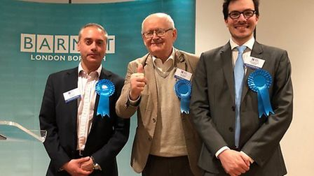 Hampstead Garden Suburb councillors celebrate being returned in the ward. Picture: Emily Banks