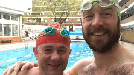 Darren Cainey and colleague Jonathan Spalton during a training swim together the week before the eve
