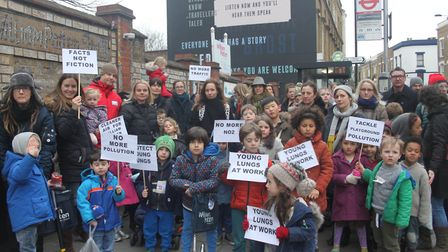 The campaigners staged a protest outside William Patten school earlier this year.