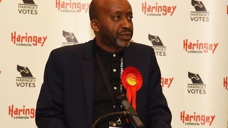 Joseph Ejiofor addressing the room after the Haringey local election results in May 2018