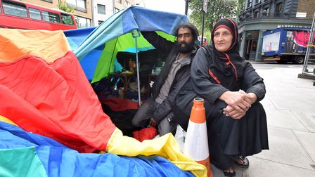 Raja and Ayesha live in a tent on Mare Street. Picture: Polly Hancock