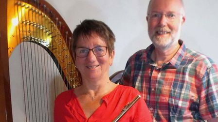 Harpist Stewart Green will be joined by flautist Carol Skinner for a concert in Wangford. Photo: Ste