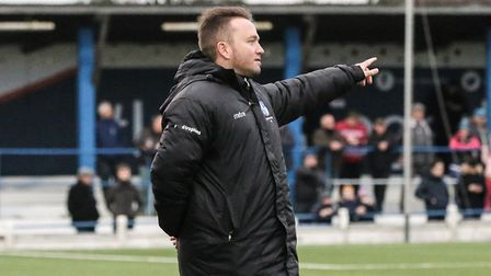 Dean Barker issues instructions from the touchline during a Wingate & Finchley match (pic: Martin Ad