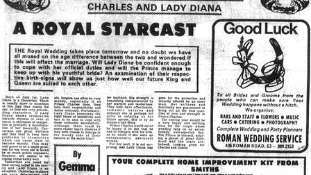 The Gazette reported on the royal wedding celebrations