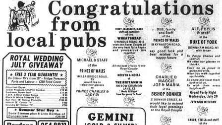 The Gazette reported on the royal wedding celebrations, and publicans put ads in the paper wishing C