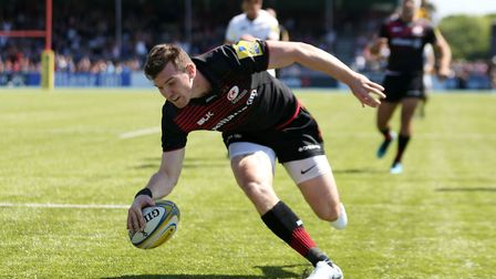 Saracens' Ben Spencer scores their sixth try during the Aviva Premiership Semi Final at Allianz Park