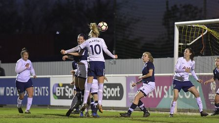 Tottenham Hotspur Ladies forward Wendy Martin heads in the opening goal of the game against Millwall