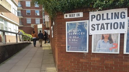 A polling station earlier today in Finchley Road.
