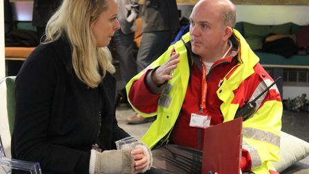 Volunteers and Red Cross staff during the emergency simulation in Hoxton Square. Picture: Lindsay Ri