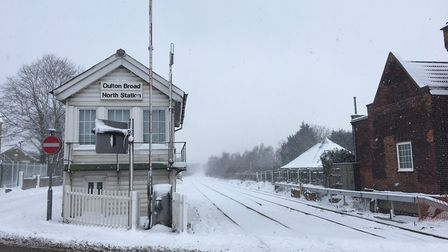 Oulton Broad North station was also shut due to the snow. PICTURE: East Suffolk Lines Community Rail