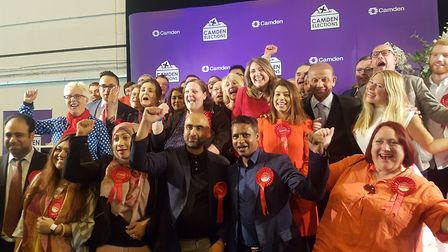 Camden Labour celebrate after a successful local elections night at Somers Town Community Sports Cen