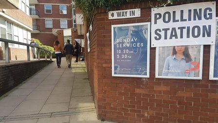 A polling station on Finchley Road earlier today
