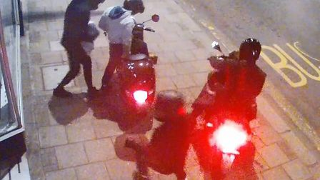 The four suspects pulled up on two mopeds outside Boots, in Finchley Road, Temple Fortune. Picture: