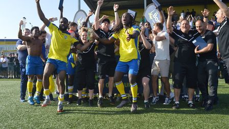Haringey Borough players celebrate promotion to the Bostik Premier (pic: Haringey Borough FC).
