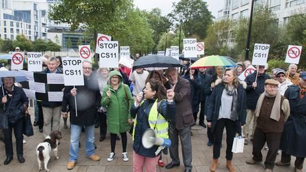 CS11 protesterx and supporters come face to face at a demonstration at Swiss Cottage in October 2016