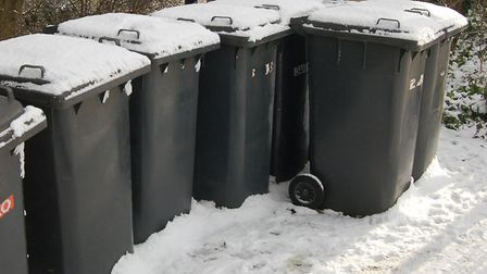 Bins could not be collected across north Norfolk during the extreme weather earlier this month. Pict