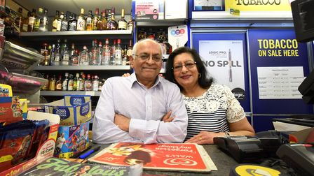 Celebrating 40 years at Marsh Hill News, Chandrakant (Sid) and Ranjanbala (Jan) Patel. Picture: Poll