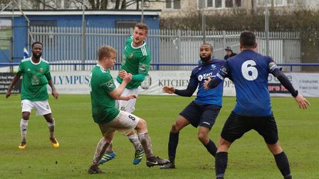 Action from Wingate & Finchley's clash against Hendon in the Bostik Premier (pic: DBeechPhotography)