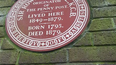 The plaque to revolutionary postal reformer, Sir Rowland Hill, which was previously fixed to the car