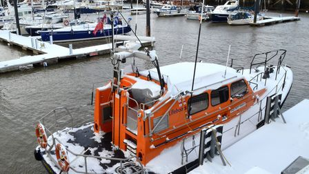 Lowestoft Lifeboat covered in snow. Picture: Mick Howes